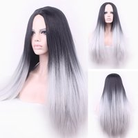 Wholesale Long Grey Wig Heat Resistant - Fashion Ombre Grey Non-lace Black Straight Synthetic Wig Ombre Tone Long Natural Heat Resistant Hair Wigs For Women