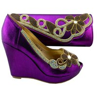 Wholesale High Heels Pumps Wedges - Amazing women's pumps with rhinestone,African shoes matching handbag sets for party 1308-L63 purple,high heel 10.5cm