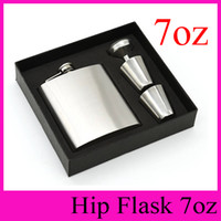 Wholesale Wine Cup Packaging - High Grade Packaging 7oz Stainless Steel Hip Flasks With Funnel and Cups Portable Flagon 7 Ounce Whisky Alcohol Wine Pot 2016 Gift Set