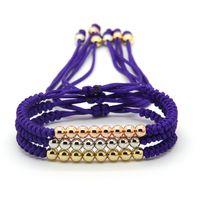 Wholesale Braided Purple Bracelet - Wholesale 10pcs lot Best Gift Fashion Jewelry 6mm Purple String Anil Arjandas Mix Colors Braiding Macrame Cz Beads Bracelet