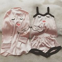 Wholesale Girl S Pajamas - 4pcs Women Silk Pajamas Set 2017 Summer Autumn Girl Lovely Eyelash Embroidery Harness Robe with Eye Mask Nightgown Sleepwear Underwear