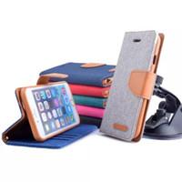 cıva flip toptan satış-Flip Case Mercury Cüzdan Para Cebi Ile Tuval Yuvası Folio Kılıf iphone 5 6 Artı Galaxy S5 S6 S6 Kenar