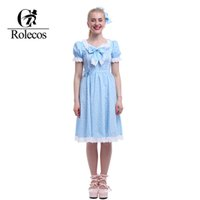 Wholesale Xxl Dresses China - Wholesale-ROLECOS New Arrival Cute Puff Sleeve Blue Sweet China Lolita Dresses Plus Size