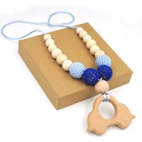 Wholesale Organic Cars - Mommy Organic Teething bead necklace Nursing necklace , Crochet Necklace fade blue beech car wooden charm baby boy gift EN28