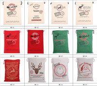 Wholesale Medium Drawstring Bags - 2017 Christmas Large Canvas Monogrammable Santa Claus Drawstring Bag With Reindeers, Monogramable Christmas Gifts Sack Bags fast shipping