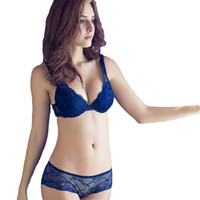 Wholesale French Intimates Lingerie - Wholesale-Deep V Sexy Lace Bra Set Push Up Bra and Panty Sets Embroidery Intimates Floral French Luxury Lingerie European Underwear Women