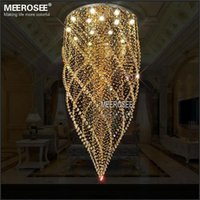 Wholesale Pc Cristal - Round Crystal Chandelier Light Fixture Amber Crystal Lamp lustre de cristal with 15 pcs GU10 Lights Stair Lighting Dia 800mm