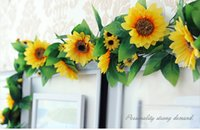 Wholesale White Sunflowers Artificial - 250cm Fake Silk Sunflower Ivy Vine Artificial Flowers Plants With Green Leaves Hanging Garland Garden Fences Home Wedding Decoration