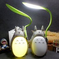 Vente en gros - Cute Totoro Lamp Led Reading Talbe Lampes de bureau 2 Mode Usb Rechargeable Bedroom Kawaii Night Light pour enfants Cadeau d'anniversaire pour enfants