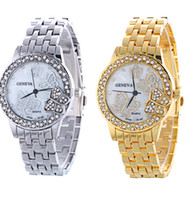 Wholesale Metal Strap Watches For Women - New unisex steel strap watch Metal geneva watches for men women Luxury diamond butterfly watch ladies casual quartz watches Rose Gold Silver