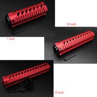 Wholesale Handguard Quad - New Chinese Red 7'' 10'' 12'' Length Quad Rail Handguard Fit .223   5.56 Rifle Picatinny Rail Mount Free Float System