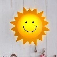 Wholesale Sun Wall Lamp - Kid Room Lights Cute Wall lamp cartoon smiley Sun Light children indoor lights decorative lamps bed lamp night light hot selling beautiful