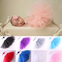 Wholesale Newborn Crochet Baby Dresses - 2Pcs Newborn Baby Photography Props Newborn Handmade Crochet Cap Infant Girl Photo Props Tutu Dress With Headware 0-3M DHL Free Shipping