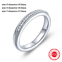 Wholesale Eternity Brand - Silver Plated Charms Rings Solid 925 Sterling Silver Wedding Engagement Half Eternity Round Cut Clear White CZ Brand Ring for Gift DL04510A