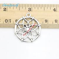 Wholesale Dreamcatcher Necklace Gold - 8pcs lot Antique Silver Plated Dreamcatcher Flower Charm Pendants for Necklace Jewelry Making DIY Handmade Craft 31x28mm