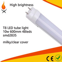 Wholesale Milky Tube - Free shipping indoor supermarket 9w 2TF 600mm T8 LED tube light smd2835 48leds G13 big pin tube bulbs milky clear cover 25pcs lot