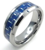 Wholesale Tungsten Carbon Fiber Wedding Band - 8mm High Polish Tungsten Carbide Mens Ring Carbon Fiber Inaly Blue Silver US size 7 to 13 Drop Shipping