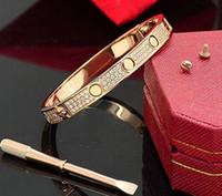 blinkende schmucksachen großhandel-Luxus voller CZ Diamant Edelstahl Armband Mode blinkt Liebe Armband Manschette Armreif Schraubendreher für Frauen Männer feine Liebe Schmuck
