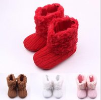 Wholesale Toddlers White Fur Shoes - Christmas 2016 Infant Baby Girls Snow Boots Fur Knitted Wool Thicken Warm Toddler Boy Girl First Walker Shoes Infant Boots Newborn Shoes