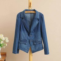 Wholesale Tailor Suit Women - T6 Spring Casual Women Blazers 5XL Plus size Clothes Puff Sleeve Bleached tailored collar slim short denim suit jacket