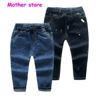 Wholesale Trouser Jeans 5t - 2-7Y baby boy jeans painting pants long casual mid drawstring demin cowboy trousers in spring