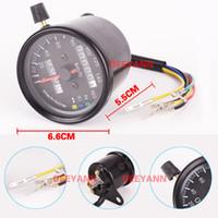 Wholesale Speedometer Led - Racing Black Pointer to the Tachometer Backlight 1400RMP 60km h Motor Movenment With LED Motorcycle Odometer Speedometer Gauge