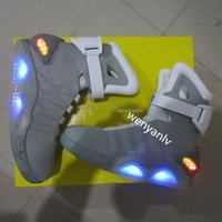 Wholesale tennis led - Air Mag Mens Back To The Future Lighting Mags Mens Basketball Shoes With LED Lights High Top Sneakers Black Grey Red Running Boots
