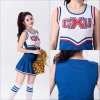 Wholesale Uniform Dress Wholesale - Hot Baseball Football Cheerleading Glee Costume Aerobics Clothing Uniforms for Performances Sleeveless Dress Size S M L XL XXL WY6939 30pcs