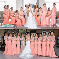Wholesale Short Bridemaid Dresses Yellow - Elegant Light Coral Long Bridesmaids Dress with Sleeves Plus Size Lace Mermaid Party Dress African Bridemaid Dresses