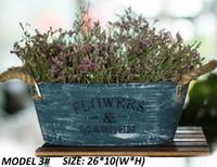 Wholesale Wholesale Rustic Handles - 5PCS-PACK Rustic 'Flowers & Garden' Bucket Design Mini Small Metal Succulent Plant Container w  Twine Handles -Pant Pots Wholesale