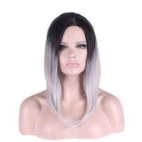 Wholesale Multi Color Short Wigs - WoodFestival Multi-Color short hair wigs straight synthetic hair heat resistant fiber wigs cosplay black green purple grey ombre wig