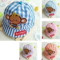Wholesale Toddler Boys Beret - Toddler Infant Hat 43~48cm Baby Boy Girl Kid Peaked Baseball cotton Beret Cap cartton animal wholesale e-packet freeshipping monkey hats