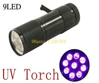 Di trasporto del nuovo arrivo di alluminio 9 LED Torch Flashlight UV 395 ~ 400 nm Luce Flash, 50pcs / lot