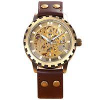 Wholesale Antique Brass Rivets - Wholesale-New SHENHUA Automatic Mechanical Men Luxury Watches Vintage Brass Gear Case Hollow Dial Rivet Leather Strap Antique Wristwatch