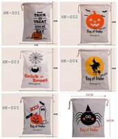 Wholesale Decorative Pumpkins - 2016 hot sale 6style Halloween Large Canvas bags cotton Drawstring Bag With Pumpkin, devil, spider, Hallowmas Gifts Sack Bags 36*48cm