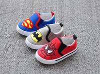 tela do homem aranha dos meninos venda por atacado-Nova Moda Meninas Meninos Sapatos Sneakers Superman Spiderman Crianças Casuais Sapatos de Lona de Natal / Halloween 1 Par Frete Grátis