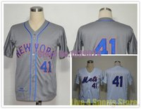 Wholesale Stripes Toms - 2017 NWT New York Mets 41 Tom Seaver Jersey White Blue Stripe Grey MN 1969 Cool Stitched TOP Quality Cheap Baseball Jersey Cheapest
