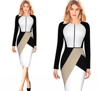 Wholesale Cheap Shipping Bodycon Dresses - 2016 New Fashion Pink White Panelled Work Dresses Long Sleeves Knee Length Women Causal Dresses Party Gowns Cheap In Stock Free Shipping 069