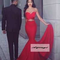 Wholesale Winter Sexy Dresses Shop Online - Red Fashion In Two Piece Evening Dresses Long Sweet Neck Criss-cross Pleated Kaftans Online Shop Formal Party Saudi Arabic Prom Vestidos