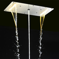 Wholesale Shower Accessory Faucet - Bathroom Rain Shower Set Accessories Faucet Panel Tap Hot and cold water Mixer LED Ceiling Shower Head Rainfall Waterfall Shower