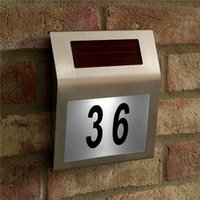 outdoor house numbers - Led Solar Light Outdoor lamp garden Stainless Solar Powered LED Illumination Doorplate Lamp House Number Light outdoor lighting