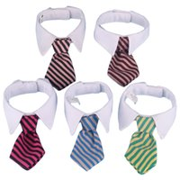 collar del gato corbata de lazo al por mayor-Nuevo collar de lazo a rayas de perro mascota Cat Bow lindo perro corbata boda ajustable perrito rojo / azul / amarillo envío gratis