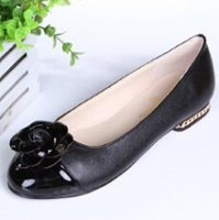 Wholesale Elegent Shoes - Free shipping A35-3 35--40 3 colors office lady flats upgrade design women ballerina sheepskin elegent lady flats with camellia