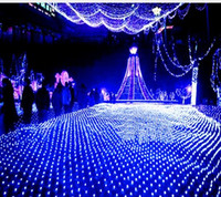 Wholesale christmas lights ceiling decorations - 3M x2M 210 LED Fairy String Xmas Tree Mesh Curtain Ceiling House Window Wall Net Light Festival Christmas Holiday Decoration AC110V-250V