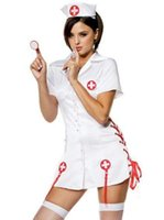 Wholesale Halloween Dress Nurse - New Arrival Classic Short Sleeve Halloween Costume CosPlay Fancy Dress White Sexy Nurse Costumes with Hat W8891