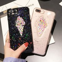 Wholesale Ice Cream Case For Iphone - Shinny 3D ice cream glitter phone Cases For iphone 7 7Plus Rainbow Sequins TPU case for iphone 6 6s 6Plus back cover