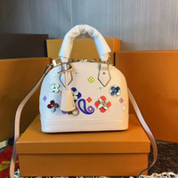Wholesale Dress Shell Pink - New Fashion Women Bag Luxury Small Floral Handbags Designer Brand Alma BB Shell Bag Shoulder Bag leather Totes monogra 24 cm