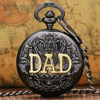 Wholesale Manual Pocket Watch - DAD Manual Semi-automatic Mechanical Pocket Watch for Dad Father Daddy gift Father's Day Gifts High Quality P853C