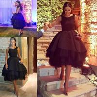 ingrosso disegno di vestito da sera di stile di sera-Little Black Short Abiti da cocktail al ginocchio stile arabo in rilievo formale abiti da ballo di promenade Abbigliamento da sera ultimo abito design economici