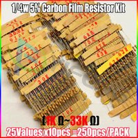Wholesale 1k ohm resistor - Wholesale- 250pcs Resistor Kit 1 4W Watt Carbon Film Resistance 1K - 33K Ohm OHMs 25values X 10pcs Resistencias Pack 0.25W Carbon Film Set